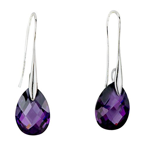 Valentines Day Gifts Pugster Angel Teardrop Swarovski Elements Crystal Earrings (Purple)
