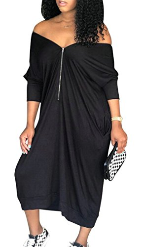 4 Backless Pockets Zip Domple Color s 3 Black Long Dress up Solid Sleeve Women nW0B8WZt