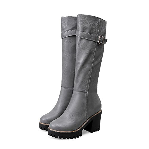 Allhqfashion Women's Mid Top Solid Zipper Round Closed Toe High-Heels Boots Gray 3R0fcX
