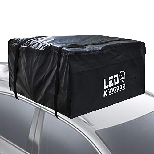 LED Kingdomus Car Roof Bag, Waterproof Cargo Top Storage Bag, 20 Cubic Feet Heavy Duty Rooftop Bag Vehicle Soft Shell Carrier Bag, Fits All Cars with No Roof Rack, 2 Reinfored Straps Included