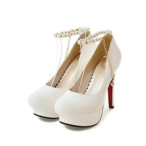 Single shoes - female ALUK- Chaussures pour femmes/fin avec/chaussures simples/talons hauts/banquet/chaussures de soirée/chaussures de travail (Couleur : Blanc, taille : 34-Shoes long220mm) Blanc