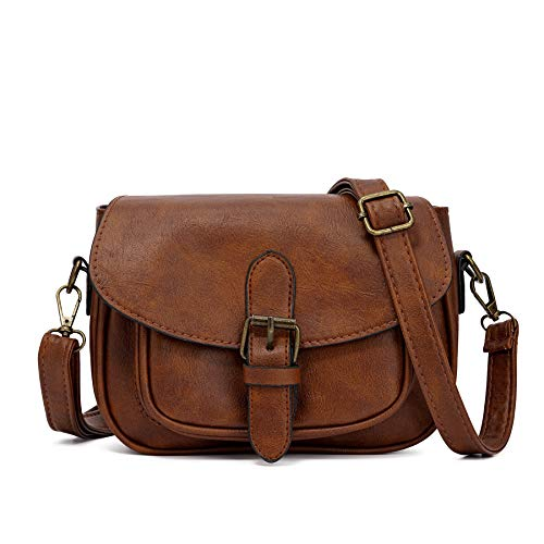 Satchel for Women PU Leather Cover Hasp Crossbody Bag and Saddle Shoulder Bag with Long Adjustable Strap (Dark brown) ()