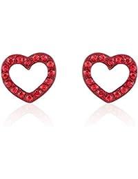 Surgical Stainless Steel Studs Earrings Little Girl - Women Heart Shape Cubic Zirconia Hypoallergenic Earrings