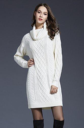 Bianco e sciolto invernali gonna grande maglia lunga vestiti ad collo manica Vestiti alto inverno Autunno BiilyLi moda donna xnT0w1