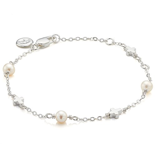 - Children's Sterling Silver Holy Communion Freshwater Pearl Station & Cross Bracelet - Perfect for Baby Girl Arrives with Luxury Jewelry Gift Box