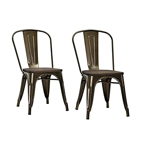 DHP Fusion Metal Dining Chair With Wood Seat, Set Of Two, Antique Bronze
