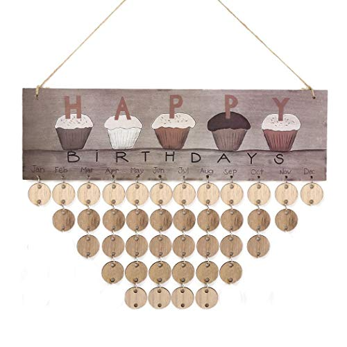 Gugio Family Birthday Reminder Hanging DIY Wooden Calendar Plaque Home Wall Decoration (Round Shape)]()