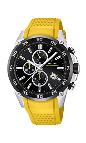 Festina 'The Originals Collection' Men's Quartz Watch with Black Dial Chronograph Display and Yellow Rubber Strap F20330/3