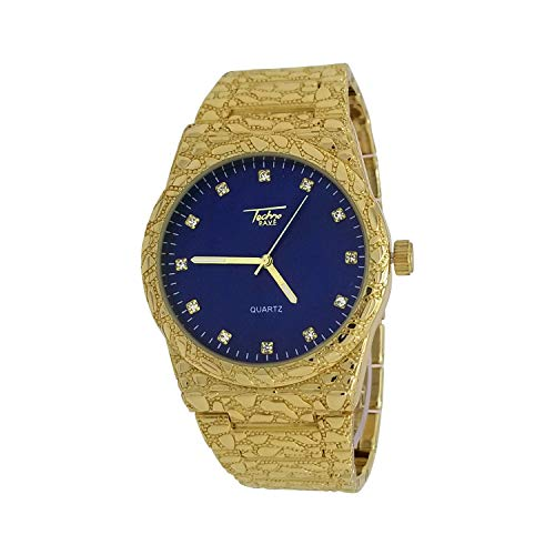 Techno Pave 14k Gold Plated Iced Out Diamond-Cut Nugget Style with Blue Dial and Metal Band Wrist Watch