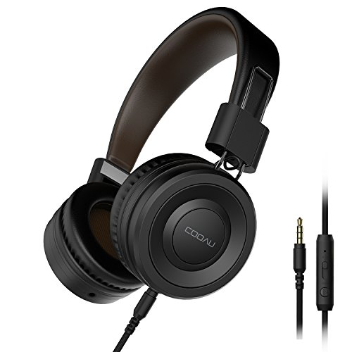 COOAU Lightweight On-Ear Headphones Hi-Fi Stereo Earphones Wired Foldable Headset with Built-in Mic for Iphone and Android Devices, Black