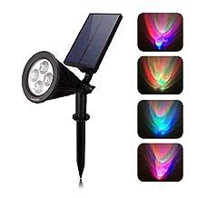 4 LED Solar Spotlight Outdoor lights Landscape Lighting Multi-Colored Adjustable Waterproof Auto Color Changing Wall light (1)