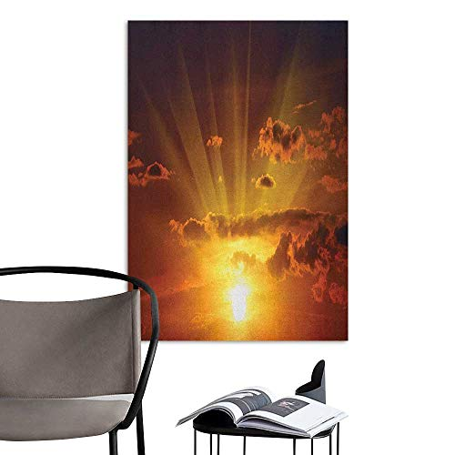 Camerofn Wall Stickers Clouds Dramatic Burning Sunset in The Sky Daily Disappearance Twilight Rotation Mystic Picture Orange Living Room Wall W16 x H20