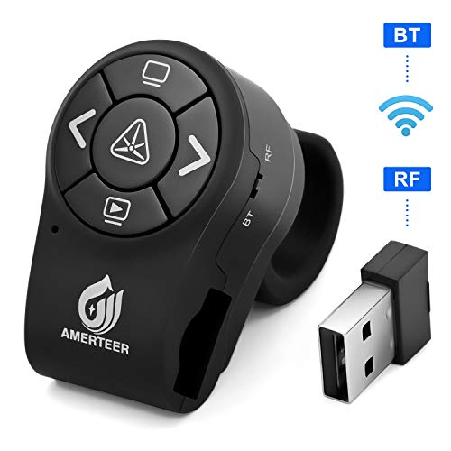 AMERTEER Bluetooth Wireless Presenter, RF 2.4GHz Presentation Clicker, Finger Ring Remote PowerPoint PPT Slides Rechargeable