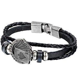 Aroncent 4pcs Vintage Handmade Leather Bracelet Adjustable Cuff Eagle Lion Skull Poker Wristband