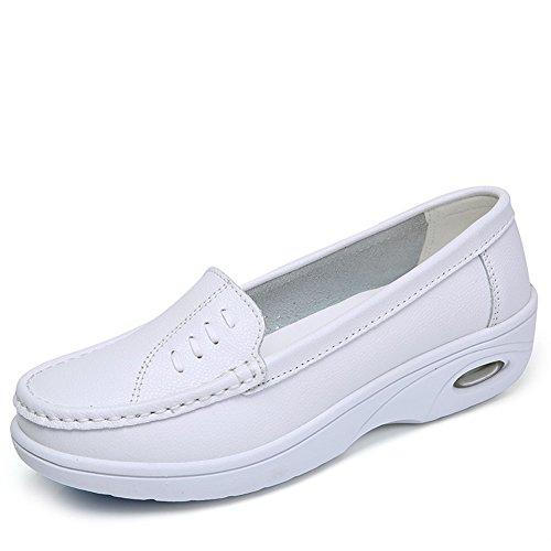 Bones Platform Sneaker (STQ-HS01baisejianyue40 Women Platform Nurse Shoes For Work Lightweight Comfort Slip On Leather Nursing Sneakers 8 B(M) US)