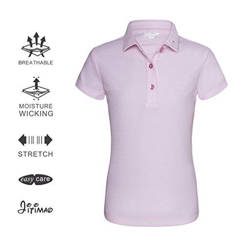 Here Golf Shirt (JITIMAO Girls Golf Dri Fit Polo Shirt for Age 5-15, Breathable Performance Short Sleeves T-Shirt Slim Fit,Light Pink,Medium/7-9)