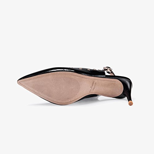 38 Black Vintage Size Toe Sandals Banquet PU Black Feminine Black Shoes Pointed Shallow Heels Mouth Elegant Color High qISxaxwB6