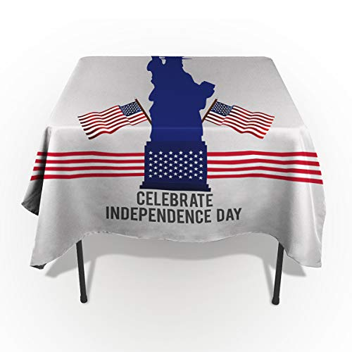 - Independence Day Tablecloths for Rectangle 60 x 84-inch Table Cover, Cotton Linen Fabric Table Cloth Table Cover for Dining Room Kitchen,Statue of Liberty National Monument with American Flag Scenery,