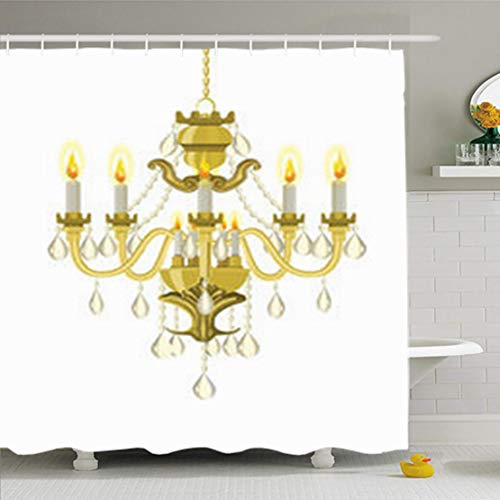 (AileenREE Shower Curtains 72 x 72 Inches Antique Vintage Chandelier Candles Baroque Bronze Decor Waterproof Bath for Bathroom Set with Hooks)