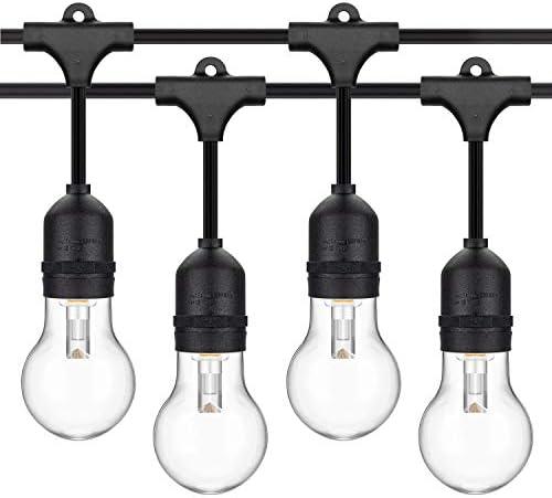 48FT Outdoor String Lights, Waterproof LED String Light 15 Hanging Sockets, 33 Vintage LED Edison Bulb Dimmable, Commercial Grade Patio Lighting