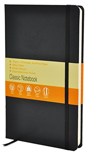 Classic Notebook / Journal with Pocket | Ruled, Hardcover, 5