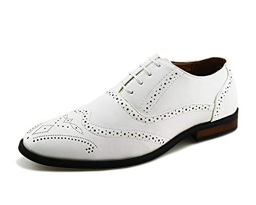 Jabasic Men Oxford Dress Shoes Casual Classic Lace Up Wingtip Shoes (12,White) by Jabasic