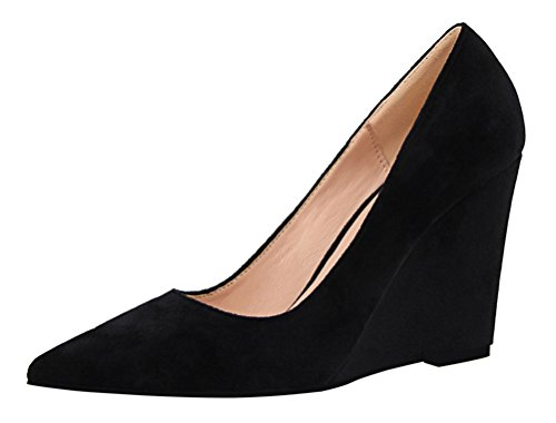 T&Mates Womens Fashion Casual Suede Pointed Toe Low Cut Slip-ons Wedge Heel Pumps Shoes (7 B(M) - Costume Cheap Bad Breaking
