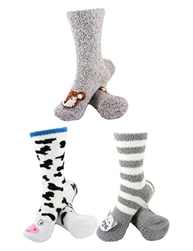 (Super Soft Warm Cute Animal Non-Slip Fuzzy Crew Winter Home Socks - Assortment 21, 3 Pairs - Value Pack)