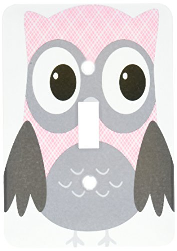 (3dRose lsp_167615_1 Cute Pink and White Plaid Owl Light Switch Cover)