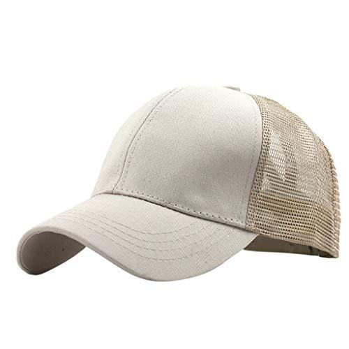 OSTELY Ponytail Messy Buns Trucker Plain Baseball Visor Cap Unisex Hat Hip-Hop Outdoor Sports Adjustable Caps(Beige)