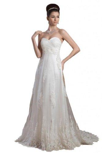 Train Tulle Court Dearta Line Ivory s Dresses Wedding A Sweetheart Women AxqAYw0