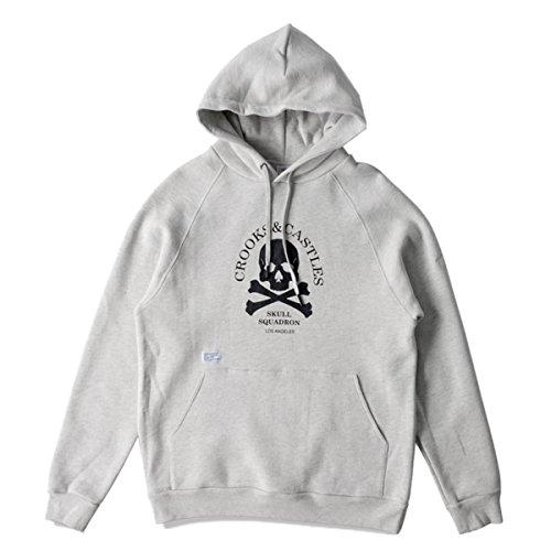 Crooks & Castles Mens Skull Squadron Knit Hoody Pullover Sweatshirt/Sweater Medium Speckle Grey ()