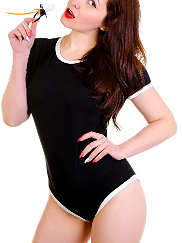 ABDL Adult Baby Onesie Diaper Lover Snap Crotch Romper Pajama 1 Free Real Adult Pacifier Included (Black, XX-Large) -
