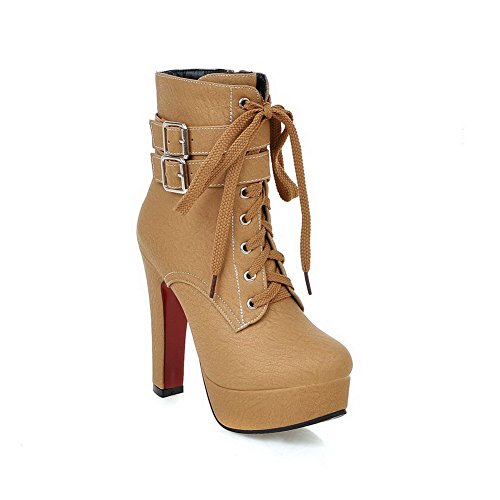 AmoonyFashion Round Top Yellow Pu High Toe Boots Closed Heels Women's Zipper Low rxgHwqpZr