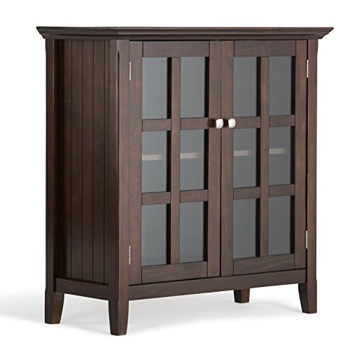 simpli home acadian solid wood low storage cabinet, tobacco brown