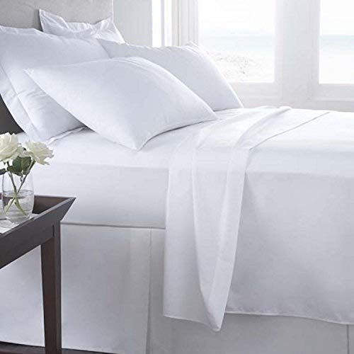 (Atlas Bedding Fitted Sheets 2-Pack (Twin XL, White) Cotton Blend Percale - Soft, Breathable, Iron Easy, Wrinkle, Fade and Stain Resistant, 12 Inch Deep Pocket, T180 Hotel Grade)
