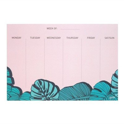 Undated Weekly Sticky Note Calendar Tropical - Yoobi153; Multi-Colored