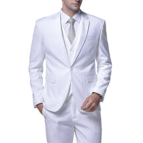 YFFUSHI Men's Slim Fit 3 Piece Suit One Button Blazer Tux Vest & Trousers (White Blazer Suit For Men)