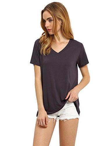 ROMWE Women's Loose Tee Short Sleeve V Neck T-shirt Casual Top Dark Grey L