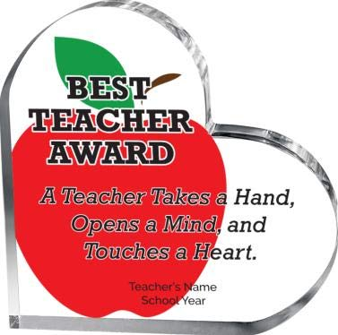 Custom Shaped Acrylic - Best Teacher Heart Award, Personalized Teaching Heart Acrylic Gift, Color Printed with Your Own Engraving Text