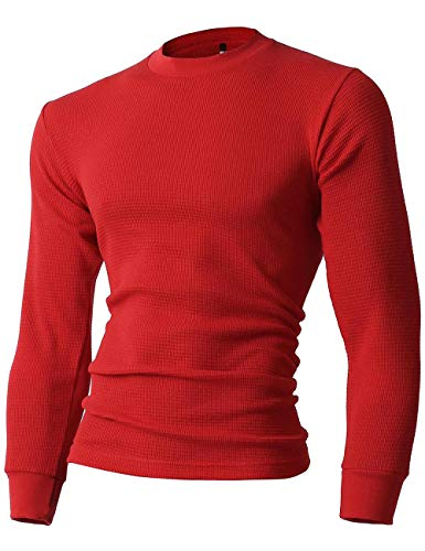 Hat and Beyond Mens Thermal Heavyweight T Shirts Long Sleeve Soft Cotton Crew Neck Big and Tall Knits (X-Large, 1ks23_red)