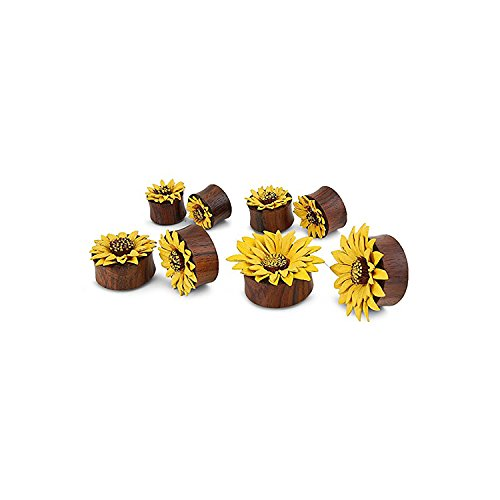 Organic Sono Wood Sunflower Design Plugs Gauges Earrings Plugs (22 Millimeters)