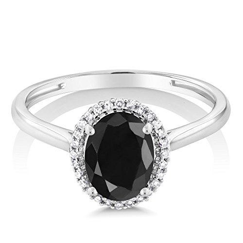 10K White Gold Black Sapphire and Diamond Halo Engagement Ring (1.66 Ctw Oval, Available in size 5, 6, 7, 8, 9)
