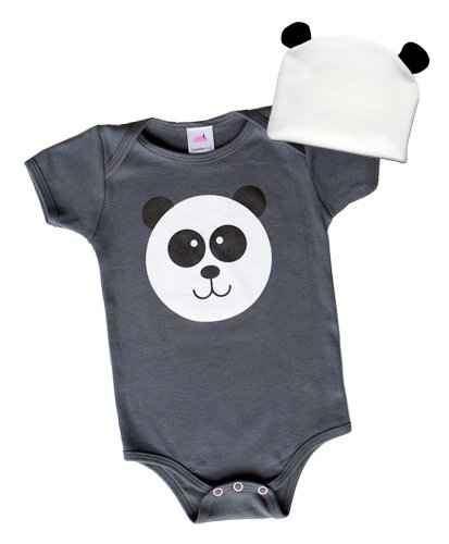 Unisex Panda Safari Animal Bodysuit 2-piece Baby Gift Set (3-6mos)