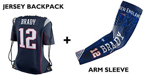 Forever Fanatics New England Brady #12 Football Fan Gift Set ✓ Brady #12 Jersey Drawstring Backpack Gym Bag & Matching Compression Arm Sleeves (Youth Size (6-13 yrs), Brady #12 Gift Set)