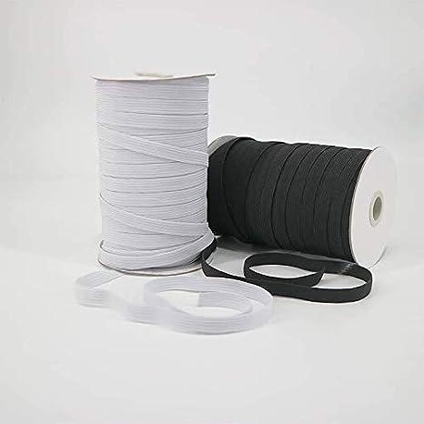 blanco Jo /& Chel 1//8 100 yardas hacer m/áscaras correa para costura manualidades Cord/ón el/ástico plano para m/áscara ropa 3mm banda Cuerda el/ástica tejer