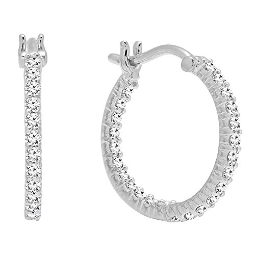 0.45 Carat (ctw) 10K White Gold Round White Diamond Fine In And Out Hoop Earrings 1/2 (Diamond In & Out Hoop)