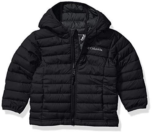 Columbia Boy's Powder Lite Hooded Winter Jacket, Water repellent, 3T, Black