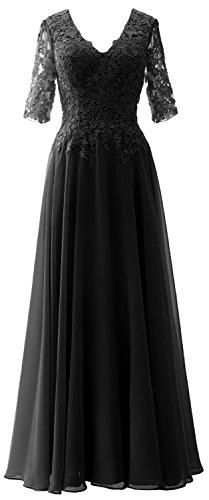 per la abito a da per V Nero MACloth da madre sposa sera formali donna della lunghe a scollo occasioni con maniche o 7vTwdq