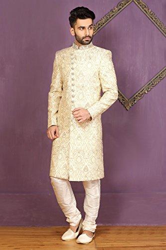 PinkCityCreations PCC Mens Indo Western Wedding Cream Designer Partywear Traditional R-2541 by PinkCityCreations (Image #1)